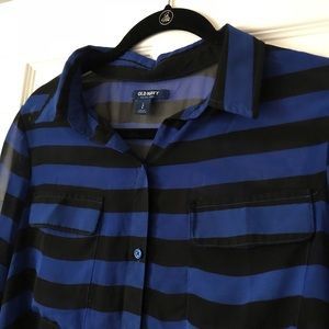 Old Navy Tops - Sheer Striped Button Down Blouse